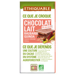Chocolat Ethiquable Lait 42% Rhubarbe Quinoa / 100g