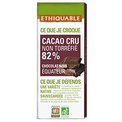Chocolat Ethiquable Cacao Cru Noir 82% / 80g
