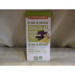 Chocolat Ethiquable Noir Gingembre / 100g
