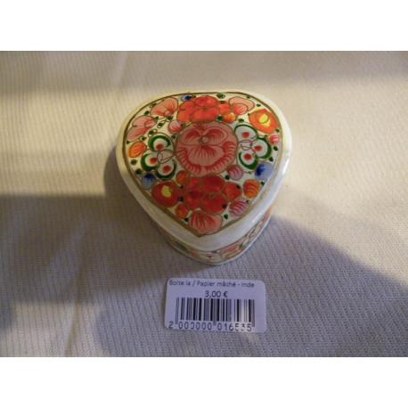 Boite laquée florale / Papier mâché - Inde