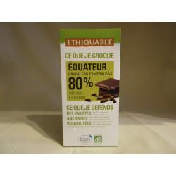 Chocolat Ethiquable Noir 80% Equateur / 100g