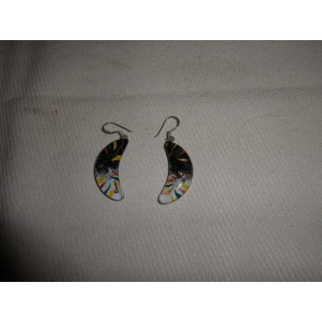 Boucles d'oreilles Lune / Chili - verre fusion