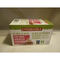 Thé Ethiquable vert hibiscus gingembre / 20 sachets