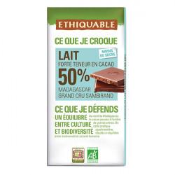 Chocolat Ethiquable Lait 50% Grand Cru / 100g