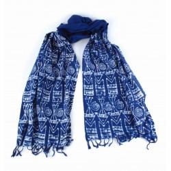 Echarpe Batik bleue / Bangladesh - Coton